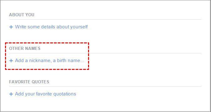 Click on Add a nickname, a birth name...