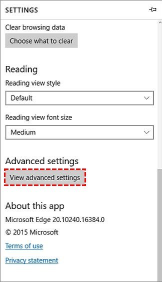 Click on View advanced settings