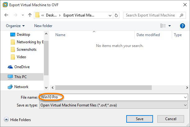 Export Virtual Machine to OVF