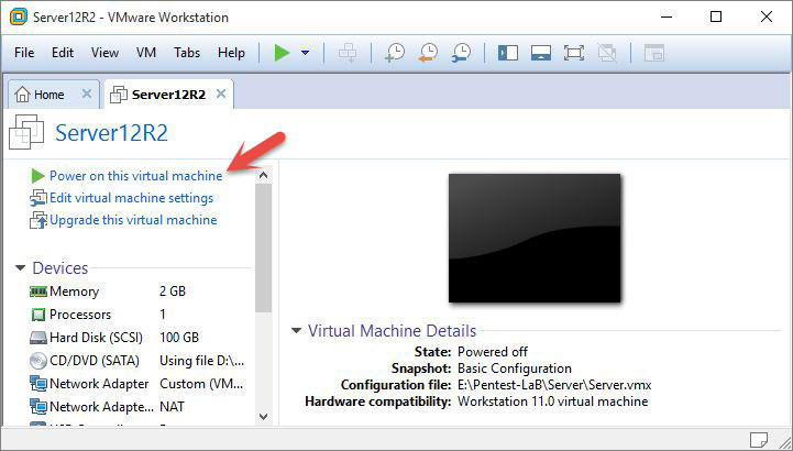 Power On this Virtual Machine