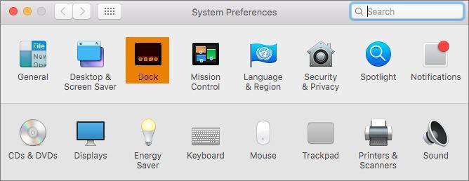 System Preferences Dock