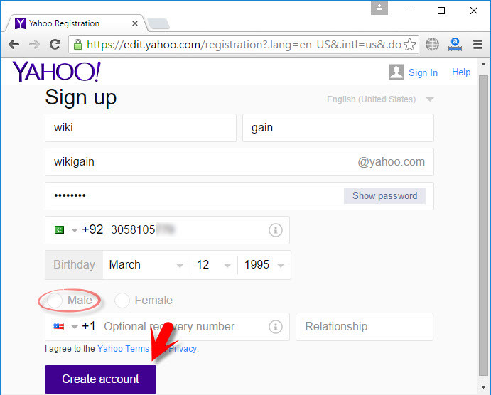 How to create yahoo account