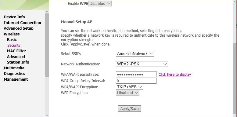WAP Security Setting