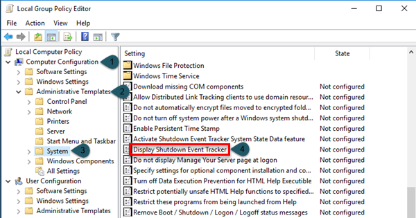 Display Shutdown Event Tracker