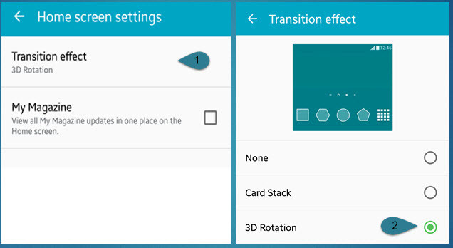 Android Home Screen Settings