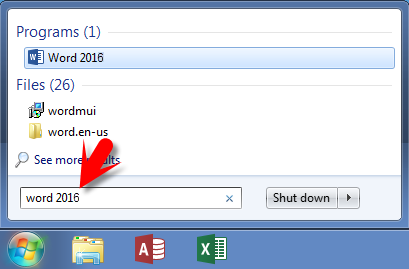 How to open word on windows 7