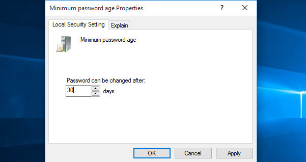 Minimum Password Age