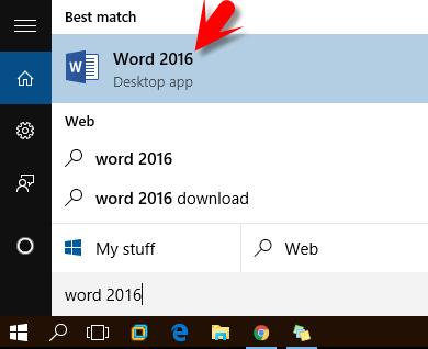 Open Word 2016 In Windows 10