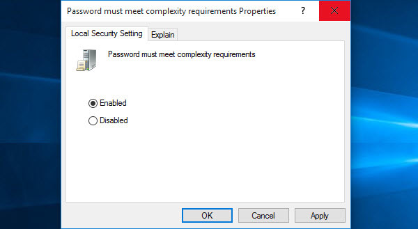 Password Must Meet Complexity Requirements