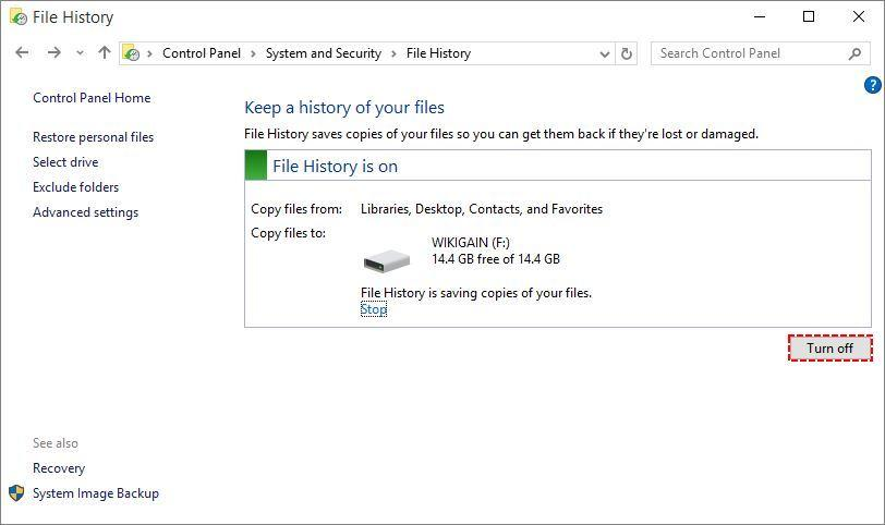 Turn Off file history