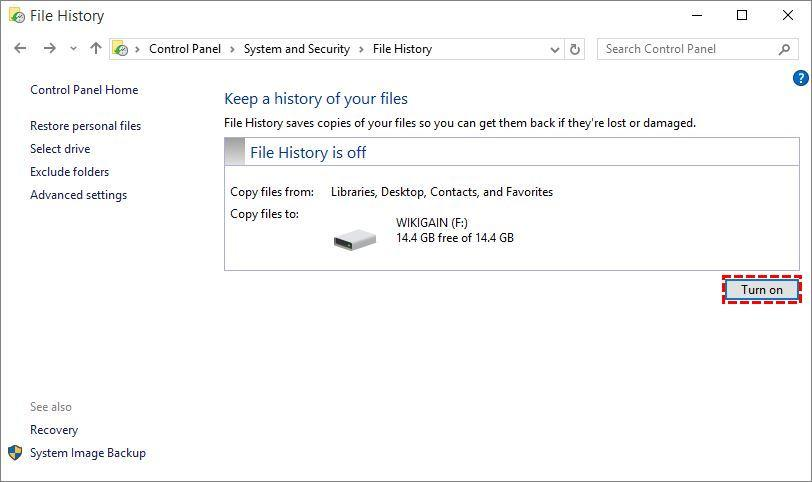 Turn on file history by USB Flash Drive