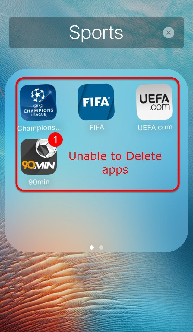 Unable to Delete apps