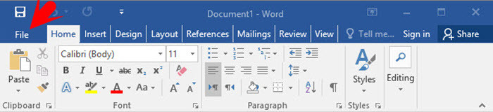 Word 2016 File Tab