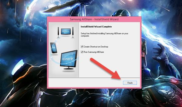 click finish in AllShare instalation