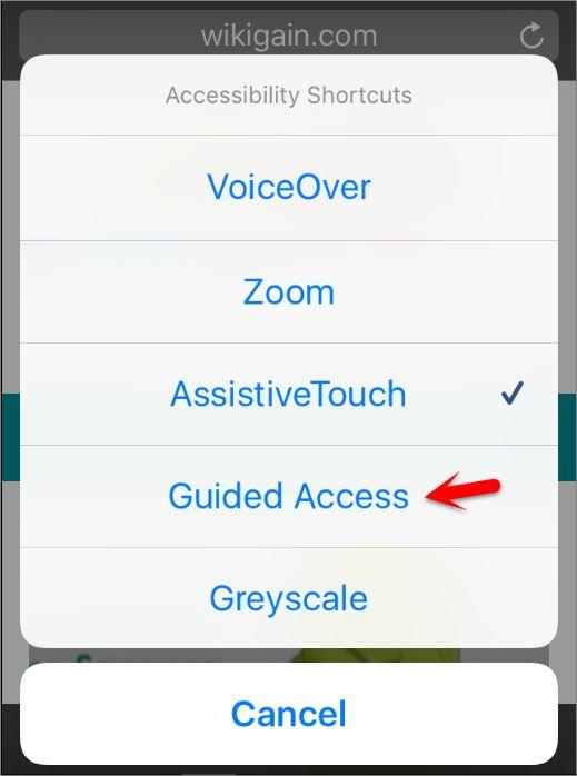 Use Guided Access Accessibility Shortcuts