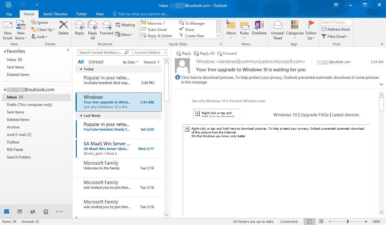 Configured Microsoft Outlook 2016