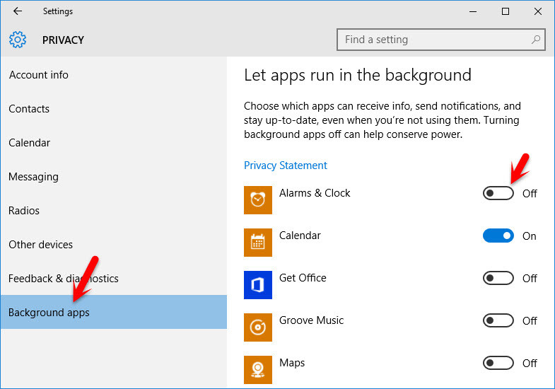 Disable Windows 10 Background Apps