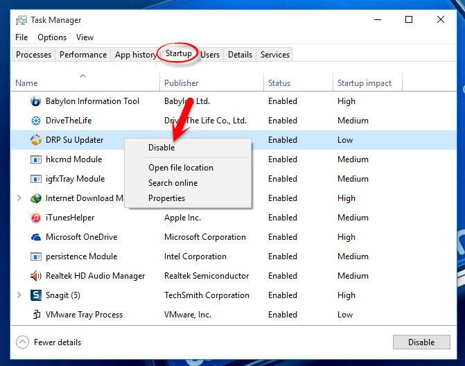 Disable Windows 10 Startup Programs