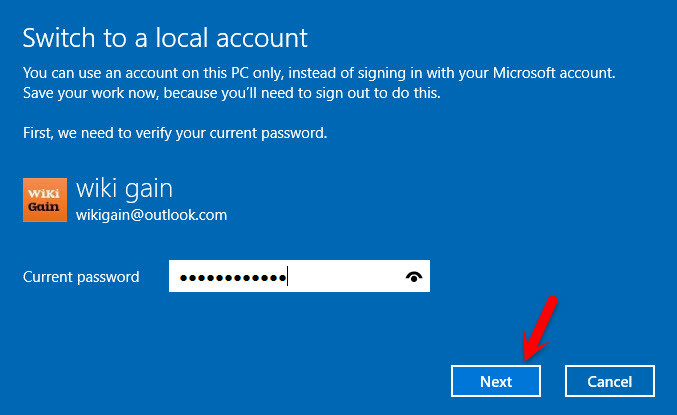 Enter Microsoft Account Password