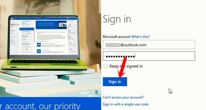 Sign in to Outlook