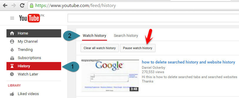 Clear YouTube Watch History