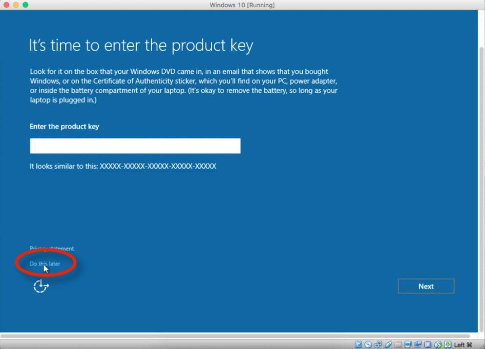 Enter Windows 10 Product Key