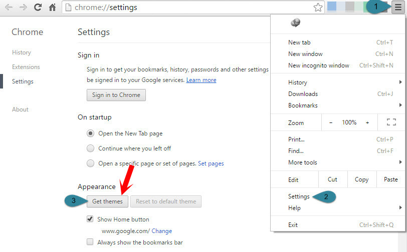 Google Chrome Settings-Get Themes