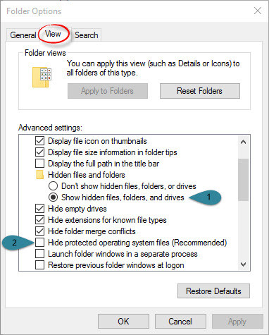Show Hidden Files, Folders or Drivers