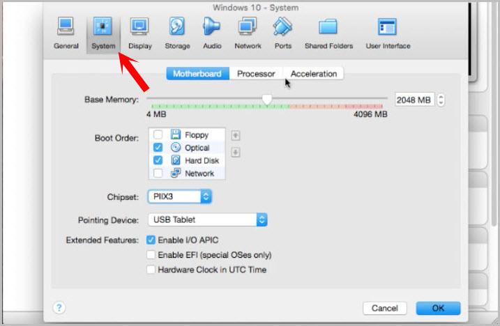 VirtualBox System Settings