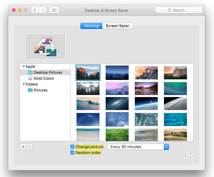 changing Mac OS X El Capitan Wallpaper
