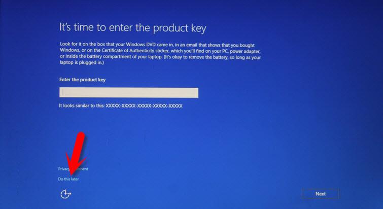 Skip Windows 10 Product Key