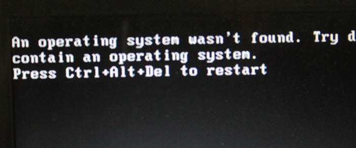 Solve Missing operating system on Lenovo