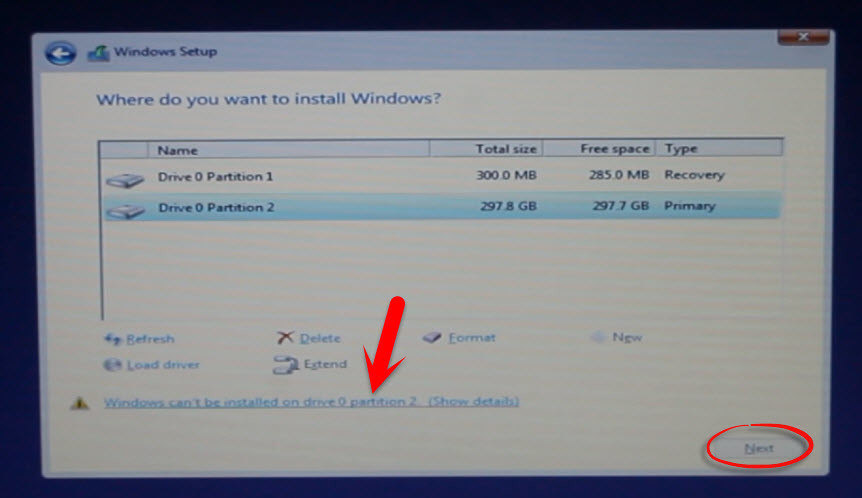 Windows Cannot be installed on this disk. The disk is GPT partition