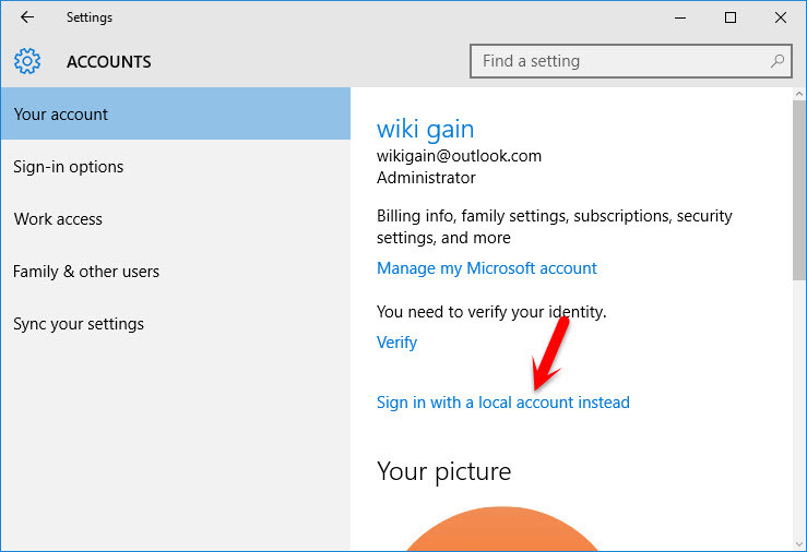 Sign Out Microsoft Account from Windows 10 - wikigain