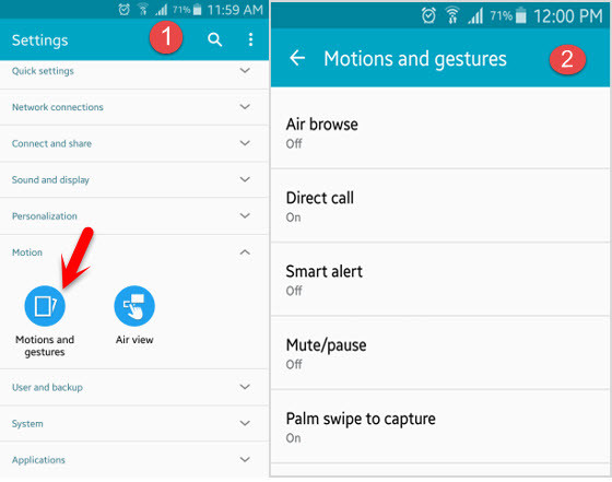 use motions and gestures on Android Device -wikigain