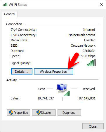 how to see saved wifi password windows 10