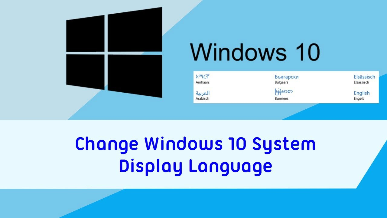 how to change windows 10 system display language
