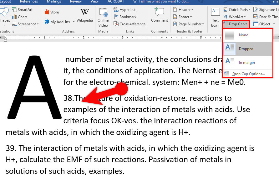 how to make periods bigger on microsoft word 2016