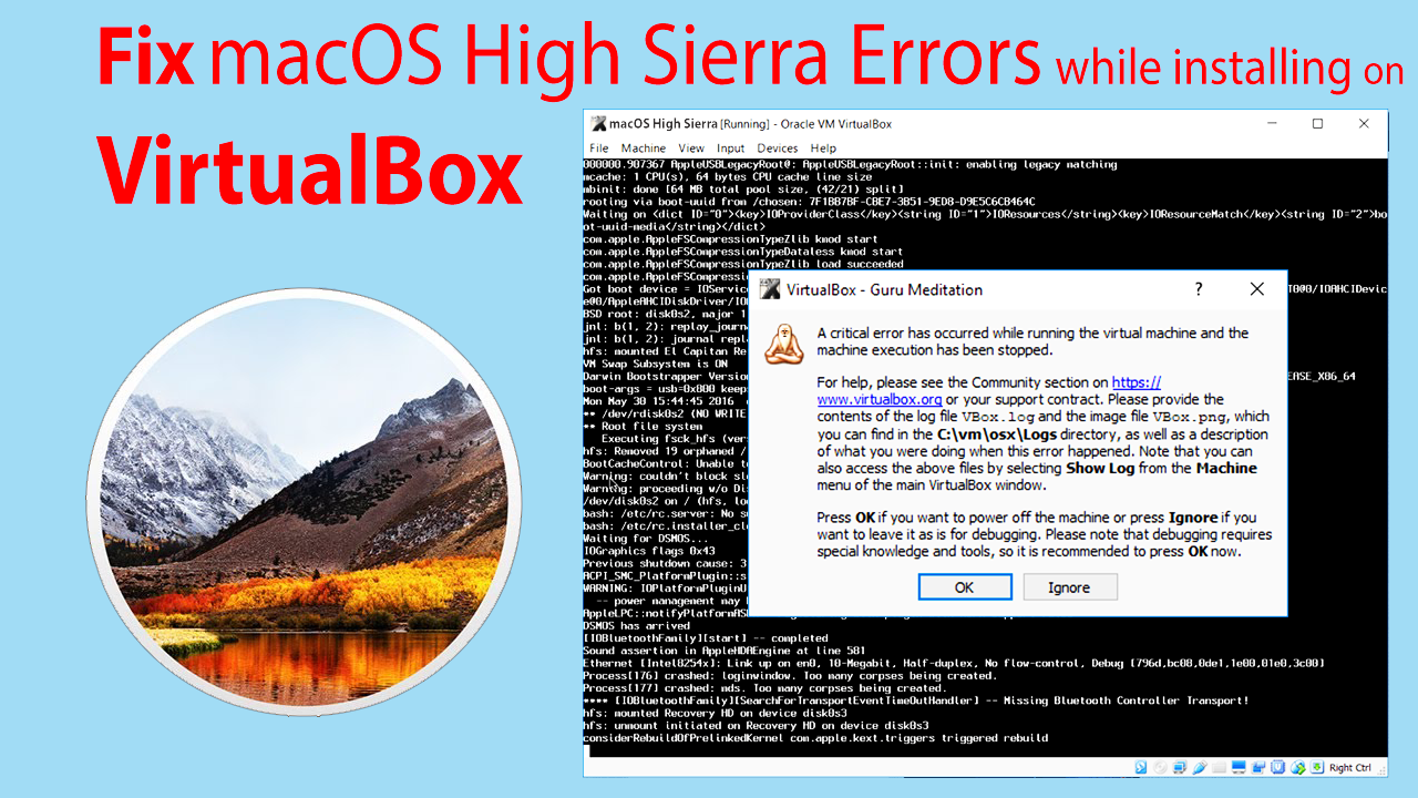 FIx macOS High Sierra Error on VirtualBox during